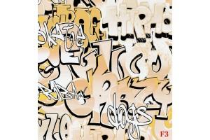 Фототапет графити с бежови и оранжеви букви