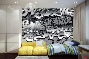 Фототапет графити с черни букви