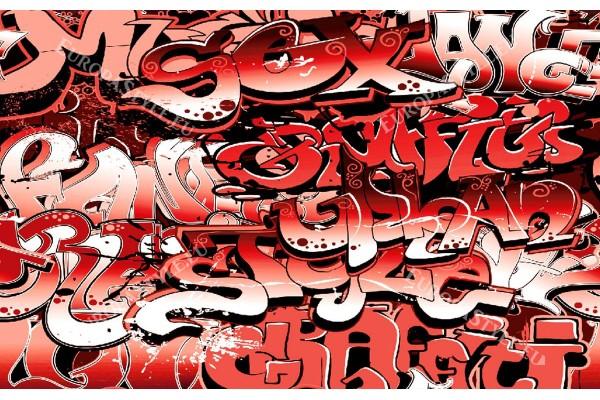 Фототапет графити с червени букви