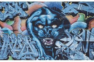 Фототапети тухлена стена графити с ягуар в 2 цвята