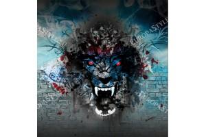 Фототапет рисувана картина тигър арт графити
