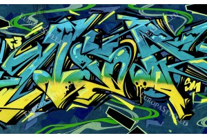 Фототапети графити в сини и жълти цветове