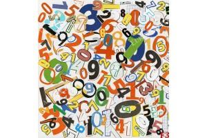 Фототапети детски колаж от цифри в 2 цвята