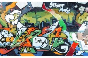 Фото тапет графити стена улична магия в 2 цвята