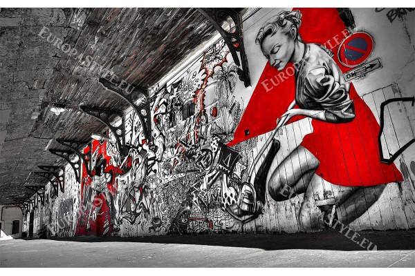 улични графити тунел в черно и червено