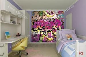 Фототапети цветни графити арт стена в 2 цвята