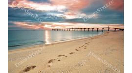 Фототапет красив морски залез и мостик