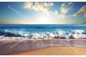 Фототапети дневен морски изглед на бряг и морска вълна