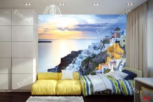 Фототапети изглед залез над остров Санторини