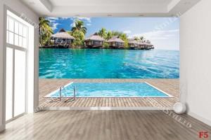 Фототапети имитация на гледка вили с басейн и море