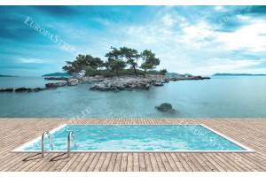 Фототапети имитация на гледка остров с басейн и море