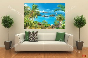 морски изглед с палми в саксии