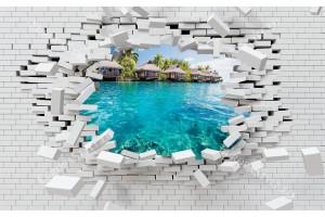 Фототапети 3d разбита тухлена стена изглед от Бора Бора