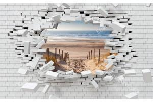3d разбита тухлена стена изглед с пътека морски плаж