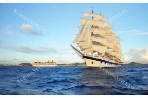 морски изглед с голям ветроходен кораб