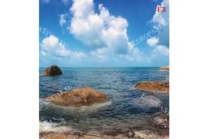 Фототапети панорамен пейзаж на морски бряг и скали