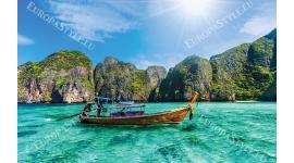 Фототапети морски пейзаж с тайландска лодка и скали