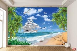 Фототапет слънчев морски пейзаж с бял кораб и палми