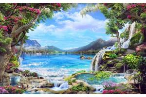 Фототапет приказен пейзаж с розови дървета езеро и водопади