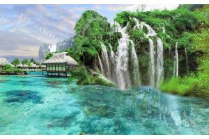 Фототапети морски бряг с фантастични водопади и лазурно море