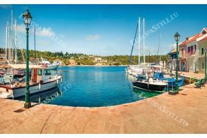 Фототапети яхтено пристанище панорама от остров Гърция