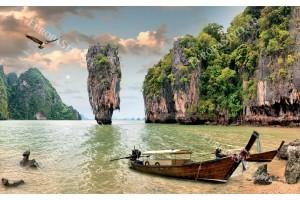Фототапети красив изглед лагуна и лодки