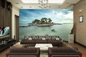 Фототапети гледка на красив самотен остров
