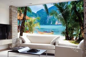 Фототапети тропически залив с лодка