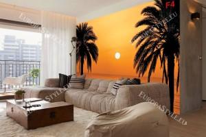 Фототапети залез в оранжево със силуети на палми
