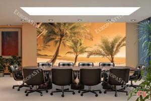 Фототапети бряг с палми на оранжев фон