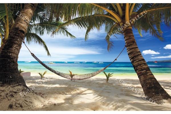 Фототапети палми на морски бряг с хамак