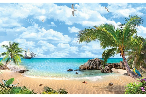 Фототапети тропическа гледка на море палми и папагал
