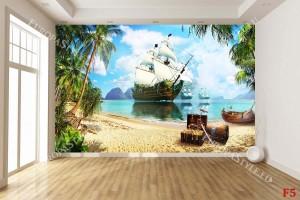 Фототапети 3Д композиция с пиратски кораб и съкровище