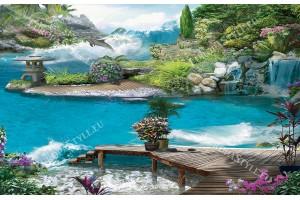 3Д ефектна гледка със скачащ делфин и цветя