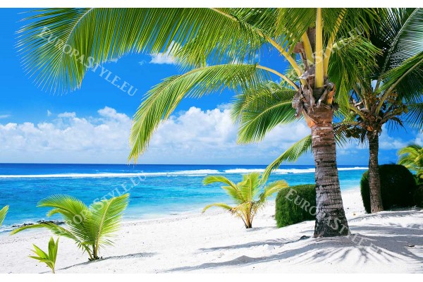 Фототапет морски плаж с палми на преден план