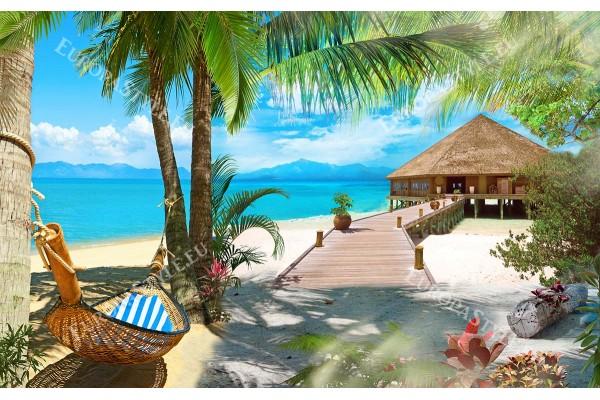 тропически рай с палми и хамак и бунгало