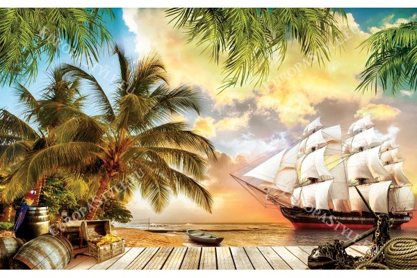 3д морски изглед с кораб и пиратско съкровище