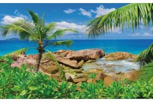 Фототапет красив скалист бряг и палма