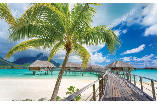 Фототапет палма, мостик и тропически вили