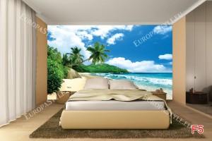 Фототапет красив изглед пясъчен бряг и палми