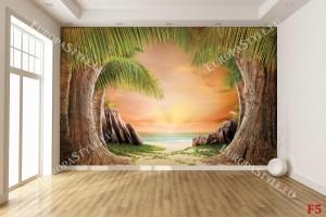 Фототапет пътека от палми край брега