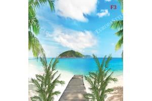 Фототапет симетричен морски пейзаж с палми и пътека