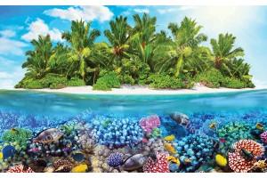 Фототапет 3D комбинация морско дъно рибки и остров