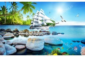 Фототапет каменен морски бряг с бял ветроходен кораб