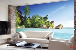 Фототапет тропически изглед бряг и палми