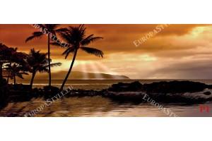 Фототапети красив морски бряг при залез с палми