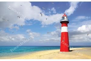Фототапет морски фар на брега в червено