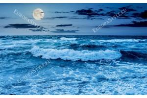 Фототапет морски вълни и изгрев в син и лилав цвят