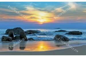 Фототапет красив морски бряг при залез син нюанс