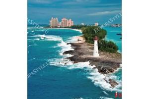 Фототапет морски фар на фона на красив град